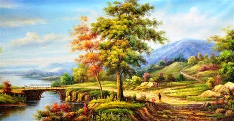 lukisan pemandangan lukisan pemandangan sawah gambartop