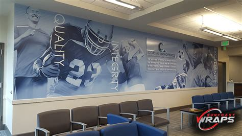 graphic wall murals coastal orthopedics wall mural with dimensional lettering and acrylic standoff sign suncoast wraps