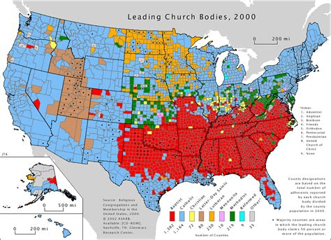 usa religion map map of us religious affiliation by county
