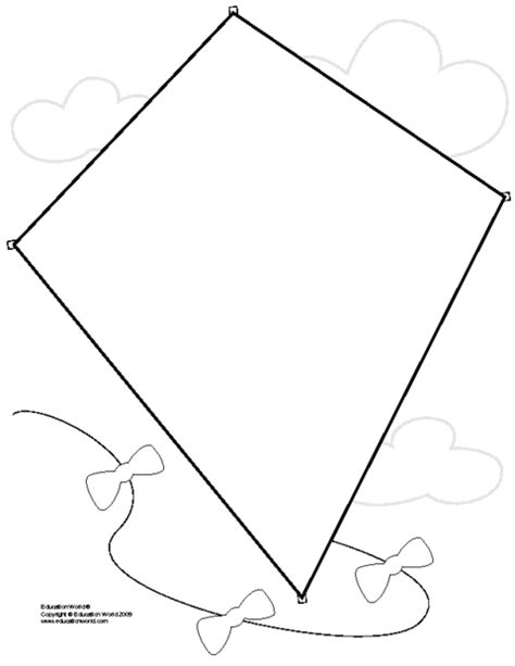 template of kite large kite template clipart best