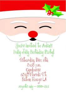 holly jolly santa christmas birthday party invitation