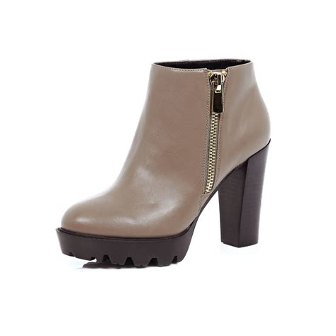 taupe color boots lyst river island taupe brown heeled ankle boots in gray