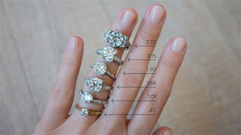 diamond size chart  hand erstwhile jewelry