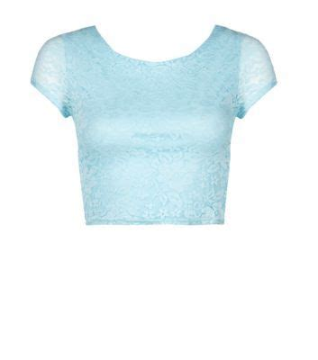 New Look Blue Crop Top tops shops and lace on