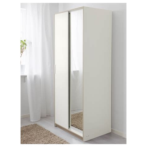 T T Wardrobes by Trysil Wardrobe White Mirror Glass 79x61x202 Cm Ikea