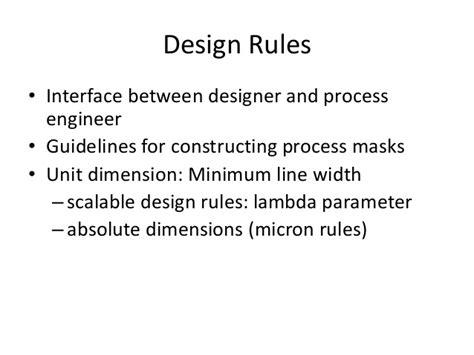 layout design rules in vlsi ppt stick diagram
