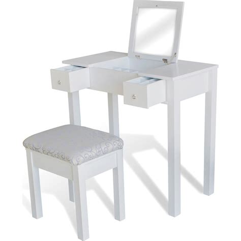 Flip Top Changing Table Dressing Table W Flip Top Mirror Stool In White Buy