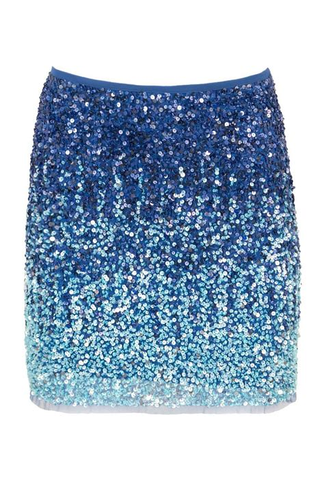 siste s sequin shining mini skirt in blue claddio