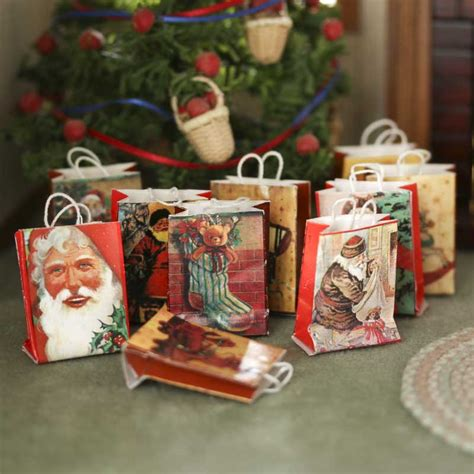 doll house figurines dollhouse miniature old world christmas gift bags christmas miniatures christmas and winter