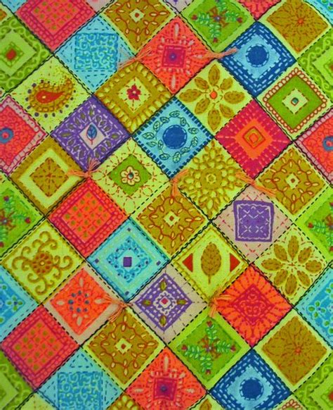 Rainbow Patchwork Quilt - 1 quot scale miniature handcrafted rainbow patchwork quilt