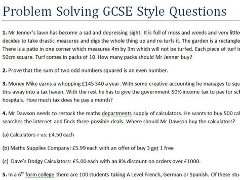 problem solving gcse style questions difficult by