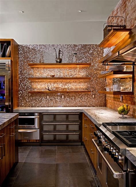 penny tile kitchen backsplash 20 copper backsplash ideas that add glitter and glam to