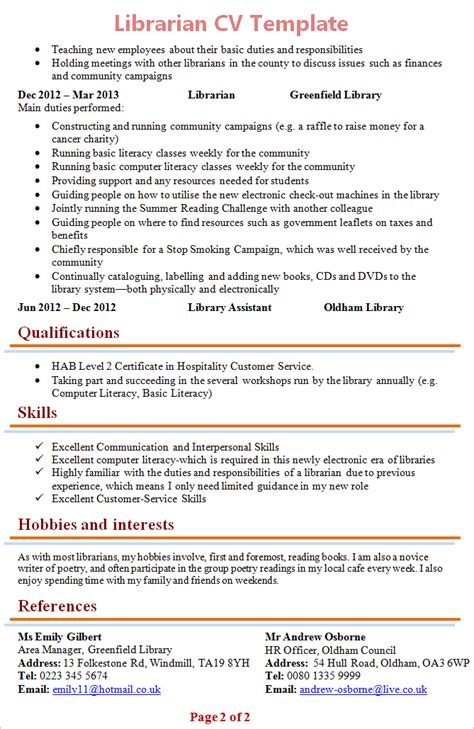 resume format for librarian pdf librarian cv template 2