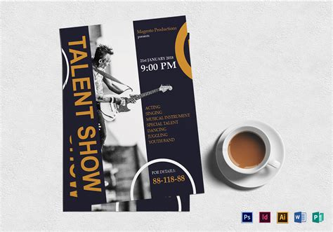 talent show flyer talent show flyer design template in word psd publisher