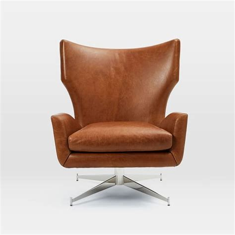 Leather Swivel Armchair by Hemming Leather Swivel Armchair West Elm