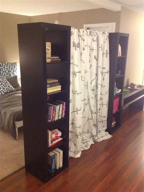 room divider  ikea bookshelves expedit   tension rod   curtain