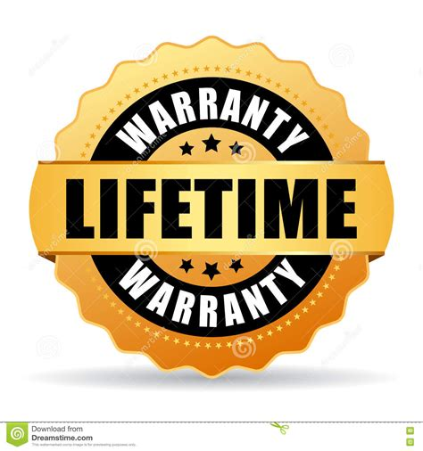 lifetime warrenty lifetime warranty gold vector icon stock vector image
