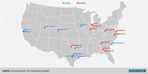 us map with populated cities census bureau city population change map business insider
