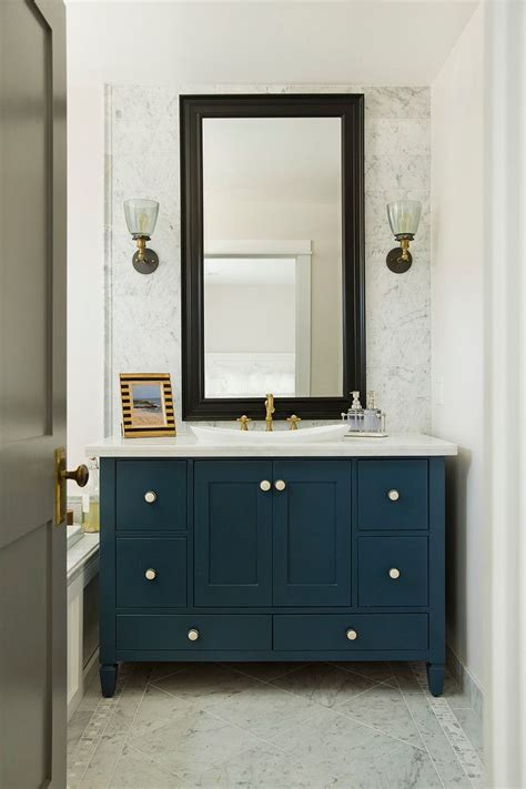 Powder Room Sink Cabinets Powder Room With Teals Cabinet Black Framed Mirror White