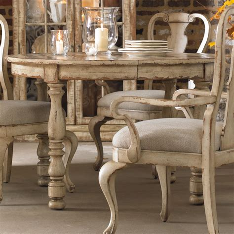 high dining room table distressed finish kitchen dining hooker furniture wakefield round leg dining table with