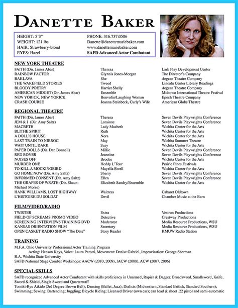 Professional Acting Resume Template by Amazing Actor Resume Sles To Achieve Your