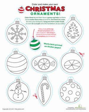 printable christmas ornaments to make printable christmas ornaments worksheet education com