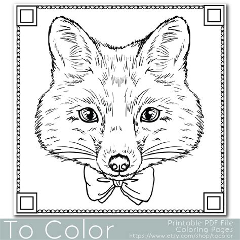 coloring pages for adults fox fox coloring page for adults pdf jpg instant