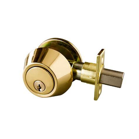 design house deadbolt design house single cylinder polished brass deadbolt with