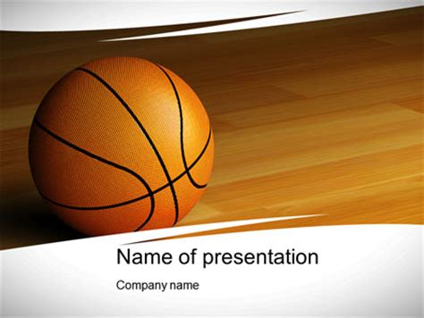 basketball on floor powerpoint template backgrounds
