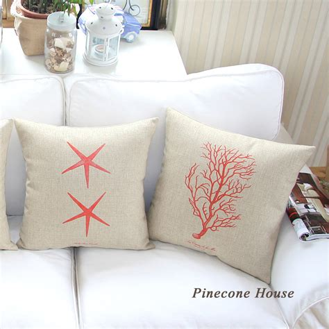 aliexpress com buy decorative pillows plain starfish ocean throw pillow covers thick cotton