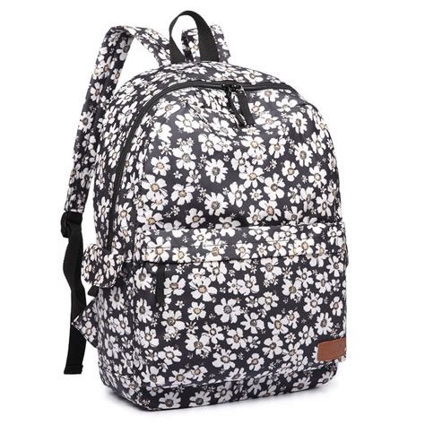 flower pattern backpacks e6609 miss lulu matte oilcloth flower pattern backpack black