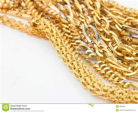 Handmade Gold Chains - bunch of gold chains stock photo image of