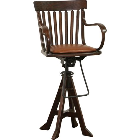 Antique Drafting Stool by Oak Swivel 1900 Antique Architect Or Drafting Stool