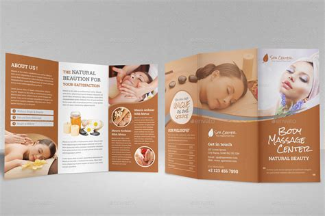 free spa brochure templates spa salon trifold brochure template by
