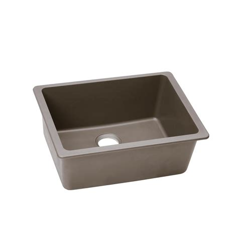 Undermount Single Bowl Kitchen Sink Elkay Quartz Classic Undermount Composite 25 In Single Bowl Kitchen Sink In Greystone