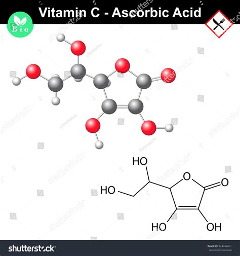 ascorbic acid ascorbate molecule structural chemical stock