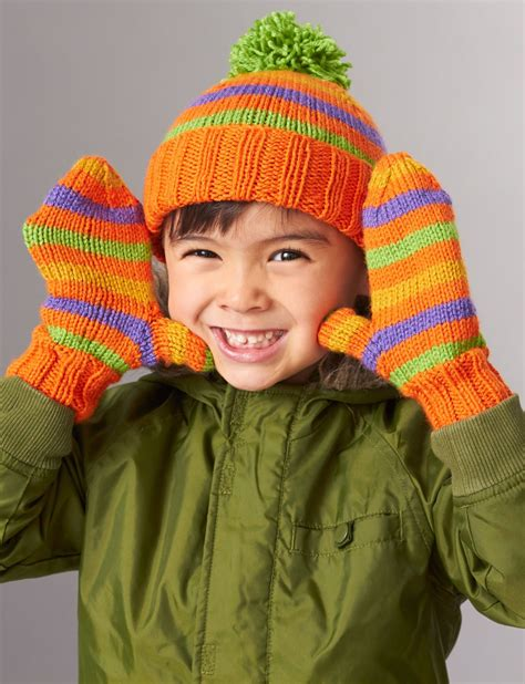 knitting patterns for mittens on four needles patons striped basic hat and mittens 4 needles knit