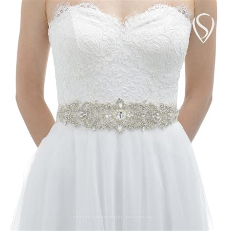 sweetv luxury rhinestone belt cummerbunds bridal sash
