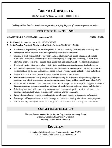 social work resume templates resume sle for social worker resume caseworker resume