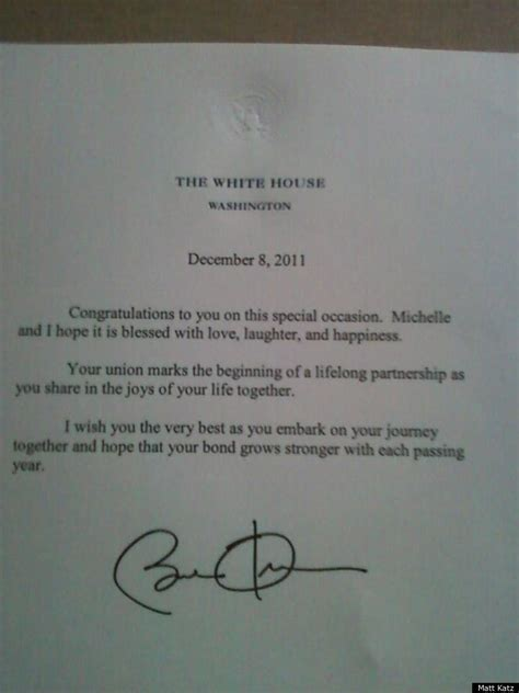 Wedding Congratulations From President by Obama Sends Letter Congratulating Married