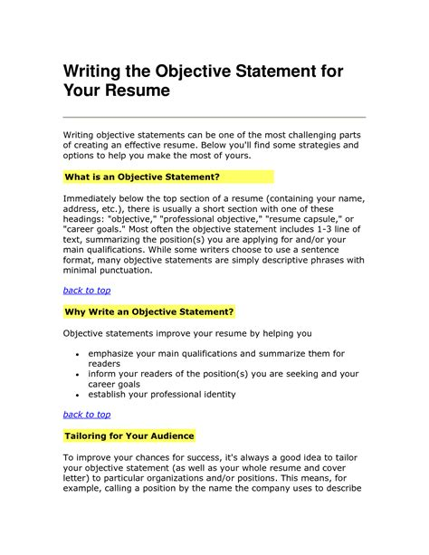 work objective statements writing the objective statement for your resume