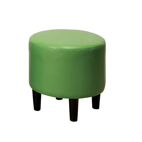 green leather ottoman furniture of america rader round faux leather ottoman in