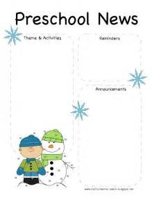 January Preschool Newsletter Template by The Crafty Preschool Winter Newsletter Template