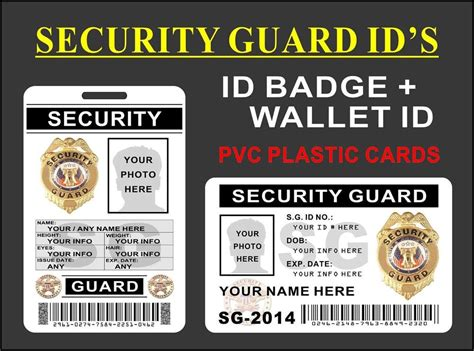 security guard id card template security guard id set id badge wallet card customize w