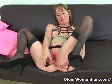 British Milf Sexy P Wears Stockings With Suspenders Free