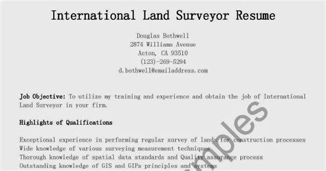 Cover Letter For Land Surveyor Resume by Resume Sles International Land Surveyor Resume Sle