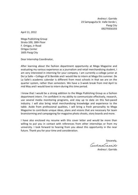 Fashion Cover Letter Internship   Letter   Pinterest
