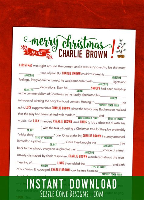 free printable christmas mad lib games charlie brown christmas printable mad lib activity