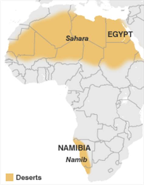 map of africa deserts namib desert map my