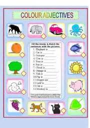are colors adjectives worksheet colour adjectives